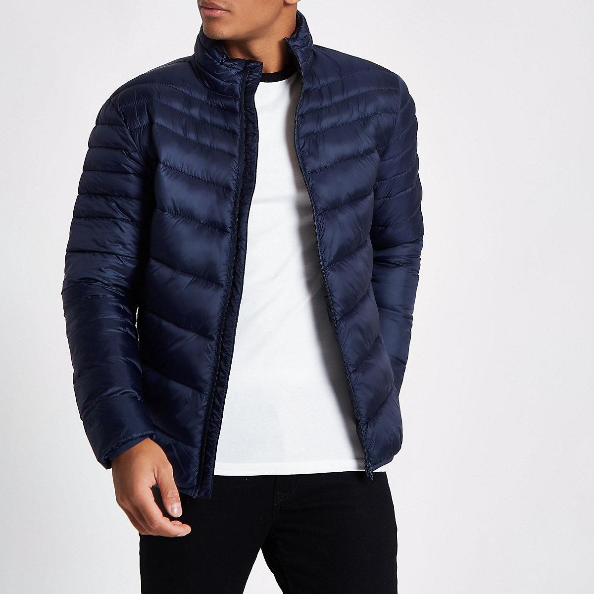 Navy zip front funnel neck puffer jacket