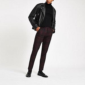 Pantalon skinny habillé à carreaux rouge foncé