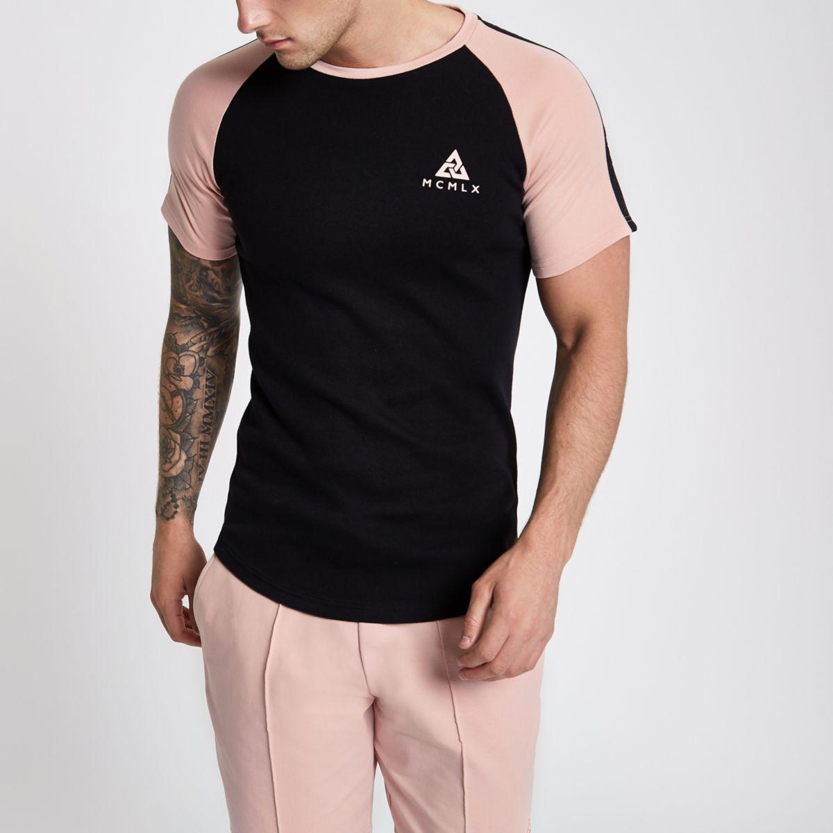 Concept black curve hem slim fit T-shirt