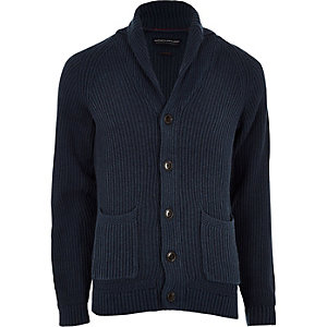 Jack & Jones navy knit shawl cardigan