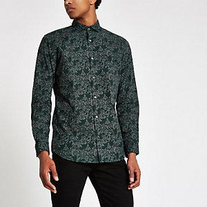 ​Jack & Jones – Grünes, geblümtes Slim Fit Hemd