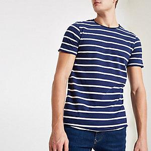 Jack & Jones – Marineblaues, gestreiftes T-Shirt