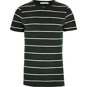 Jack & Jones – Grünes, gestreiftes T-Shirt