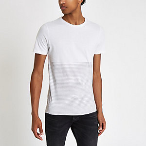Jack & Jones – T-shirt Premium rayé blanc