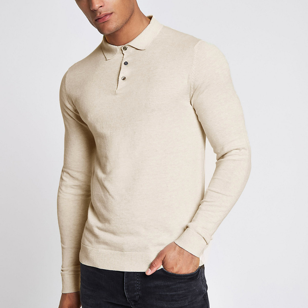 Jack & Jones Premium beige knitted polo shirt