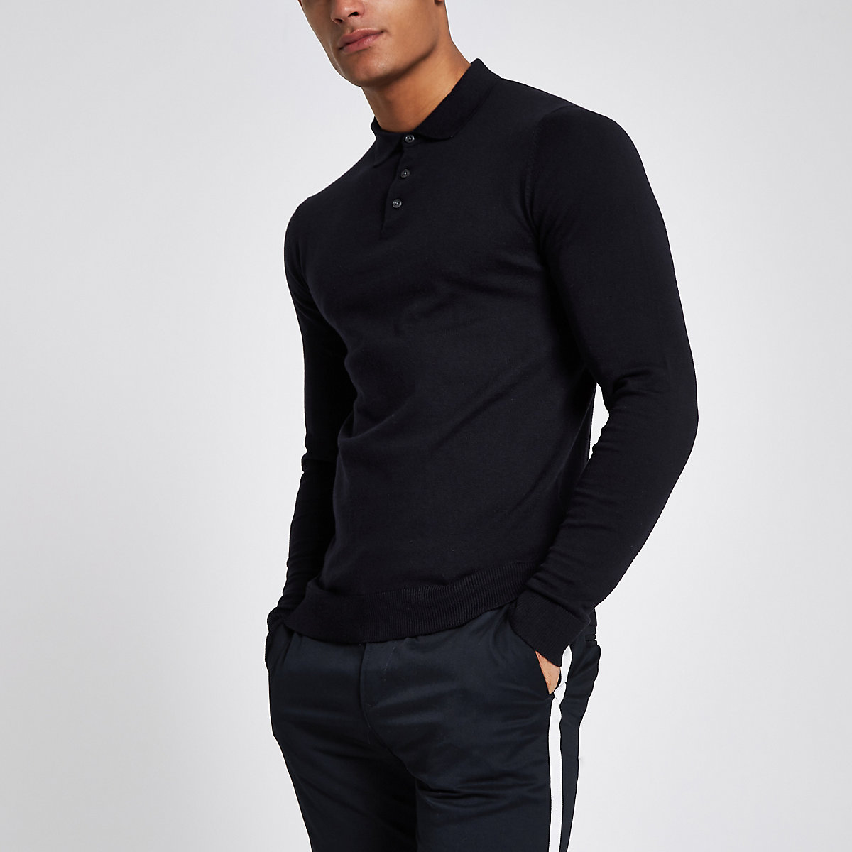 Jack & Jones Premium navy knitted polo shirt