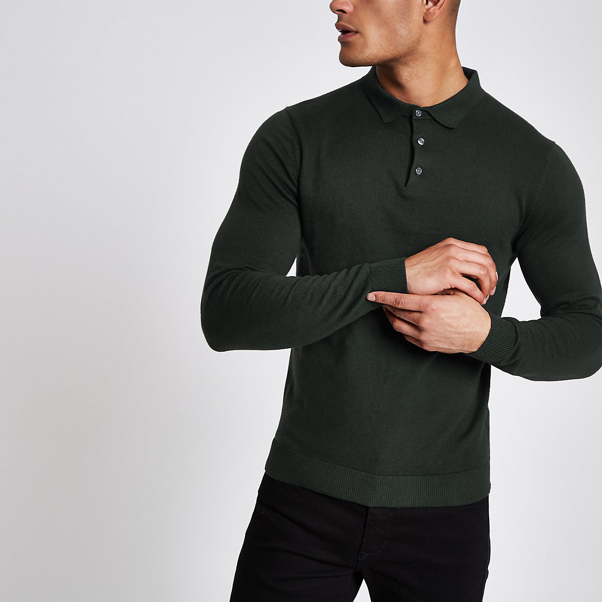 Jack & Jones Premium green knitted polo shirt