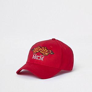 Casquette de baseball effet peau de serpent rouge brodée