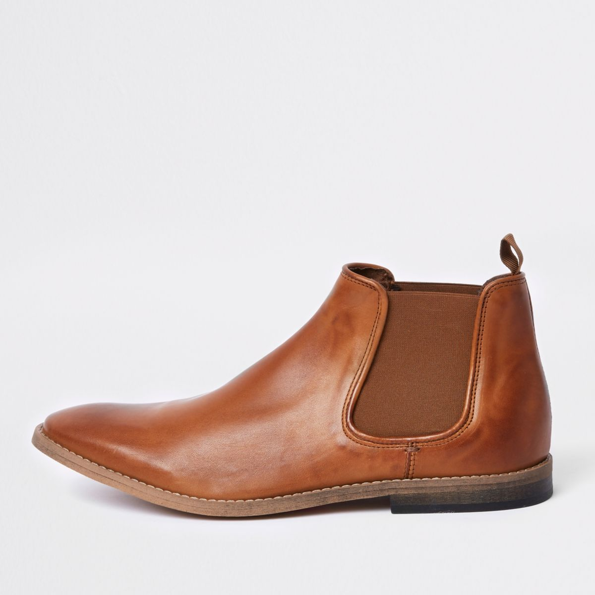 Brown deconstructed leather chelsea boots