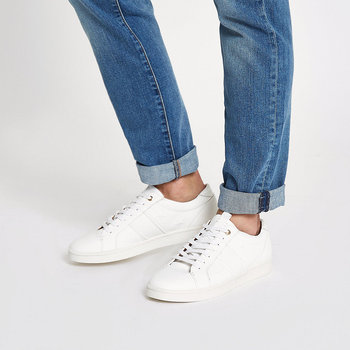 White star embossed sneakers