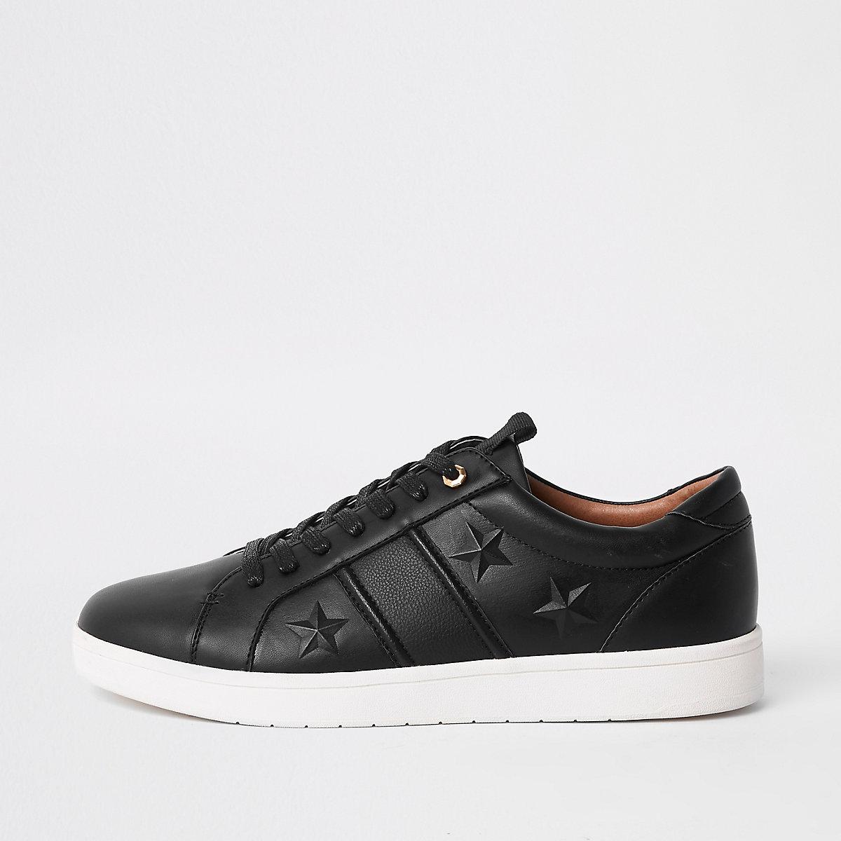 Black star embossed sneakers
