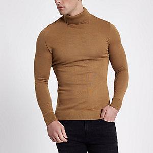 Camelkleurige slim-fit pullover met col