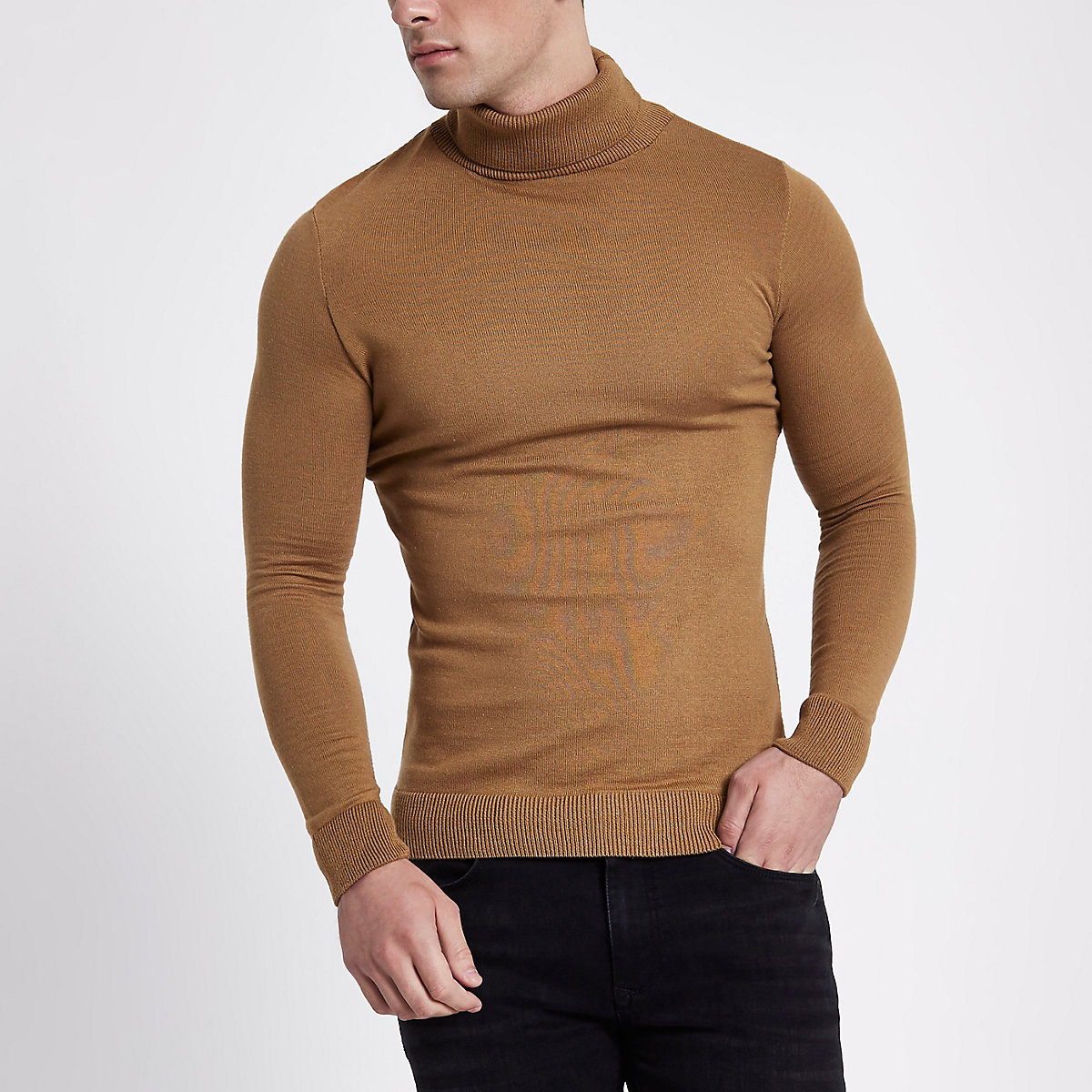 Camel slim fit roll neck jumper