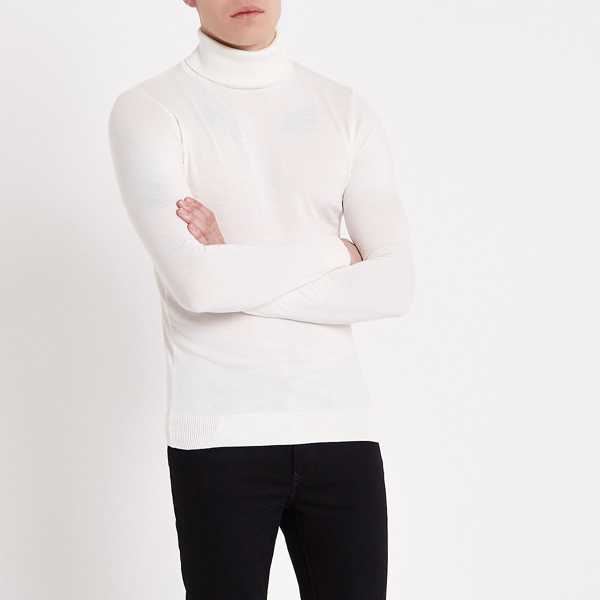 Cream slim fit roll neck jumper