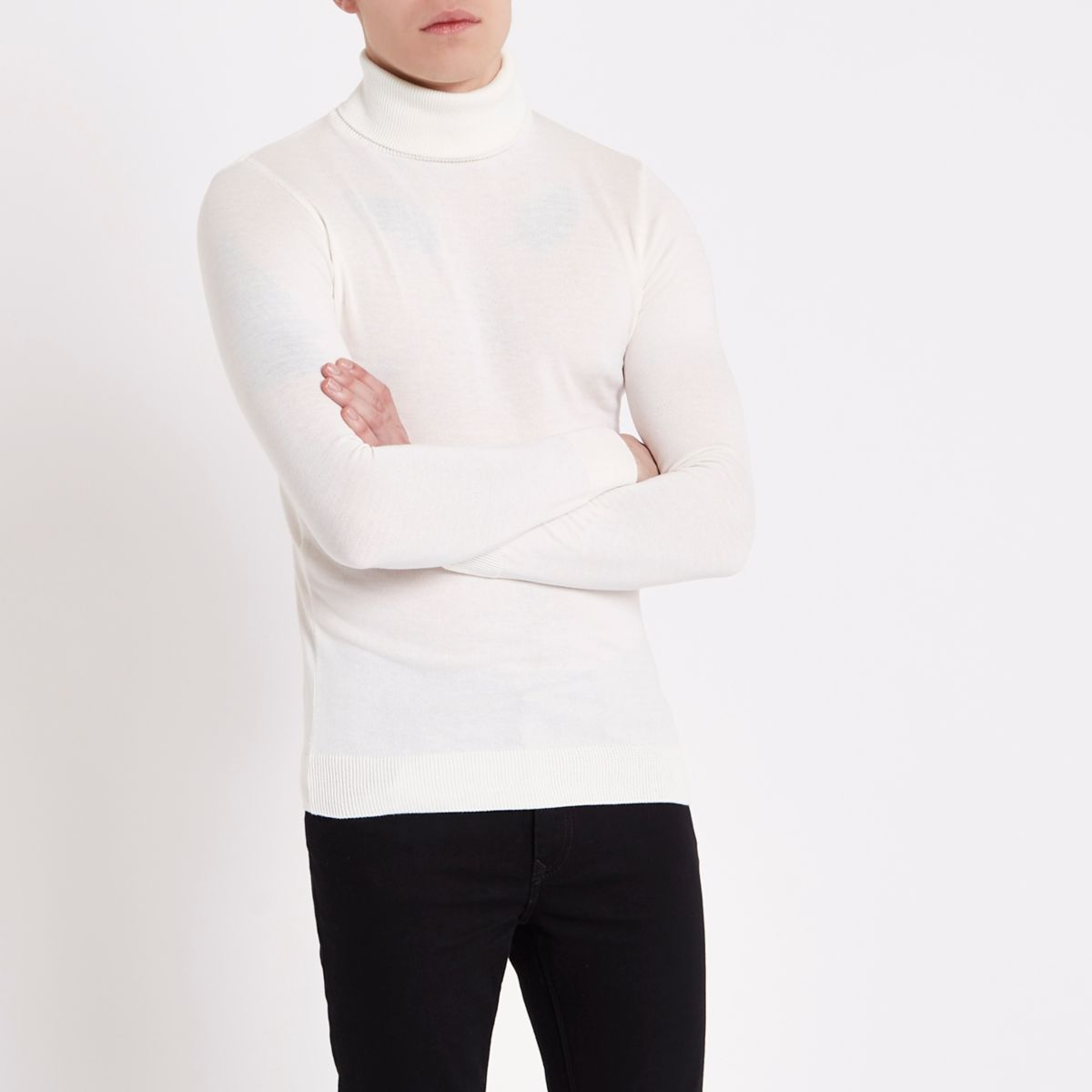 Cream slim fit roll neck sweater