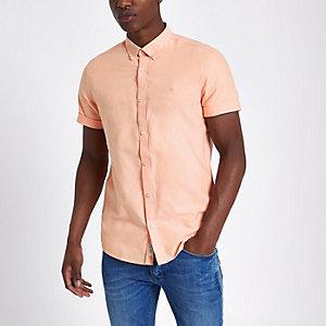 Pasteloranje Oxford overhemd met korte mouwen