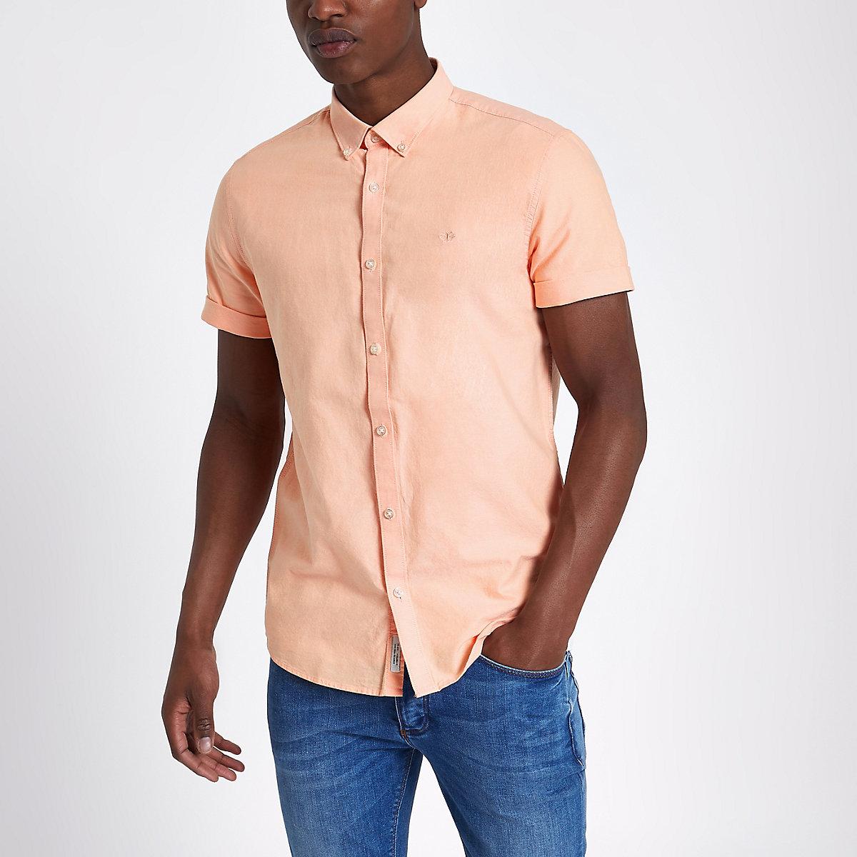 Peach orange short sleeve Oxford shirt
