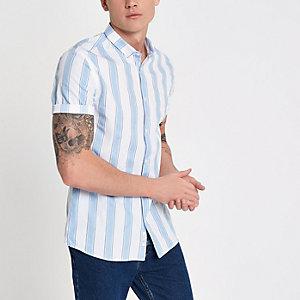 Chemise slim rayée bleue et blanche