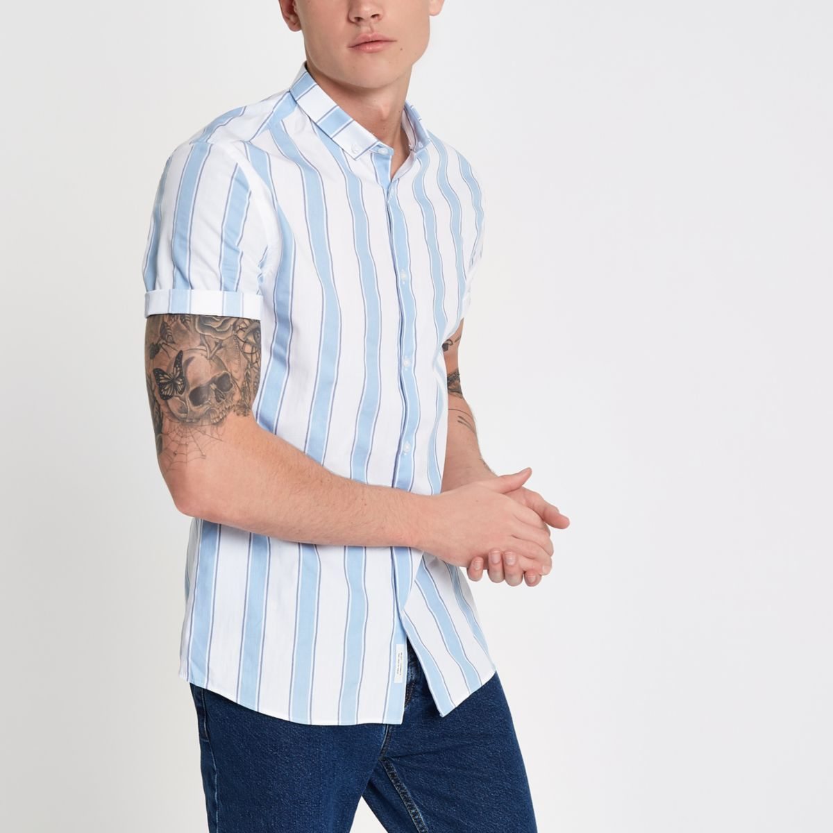 White and blue stripe slim fit shirt