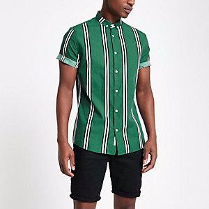Donkergroen gestreept slim-fit overhemd
