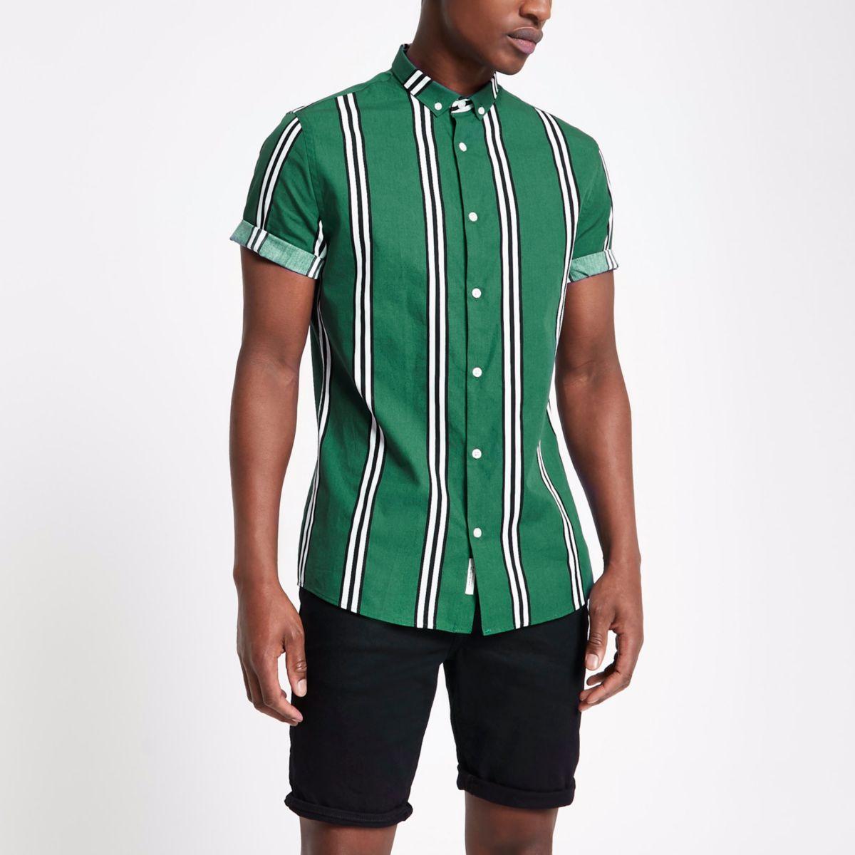 Dark green stripe slim fit shirt