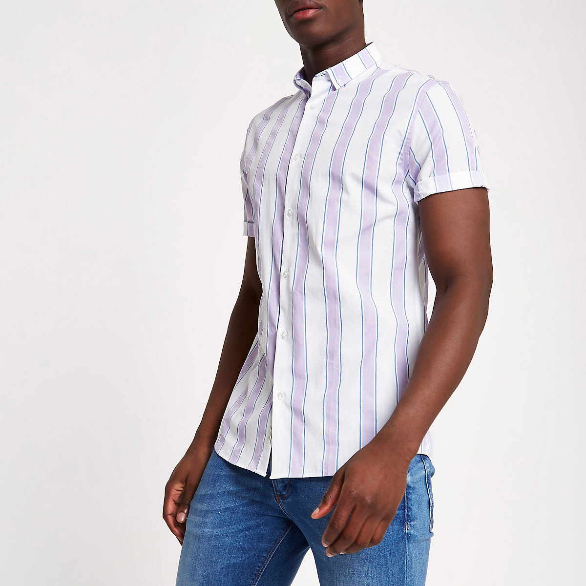 White and purple stripe slim fit shirt