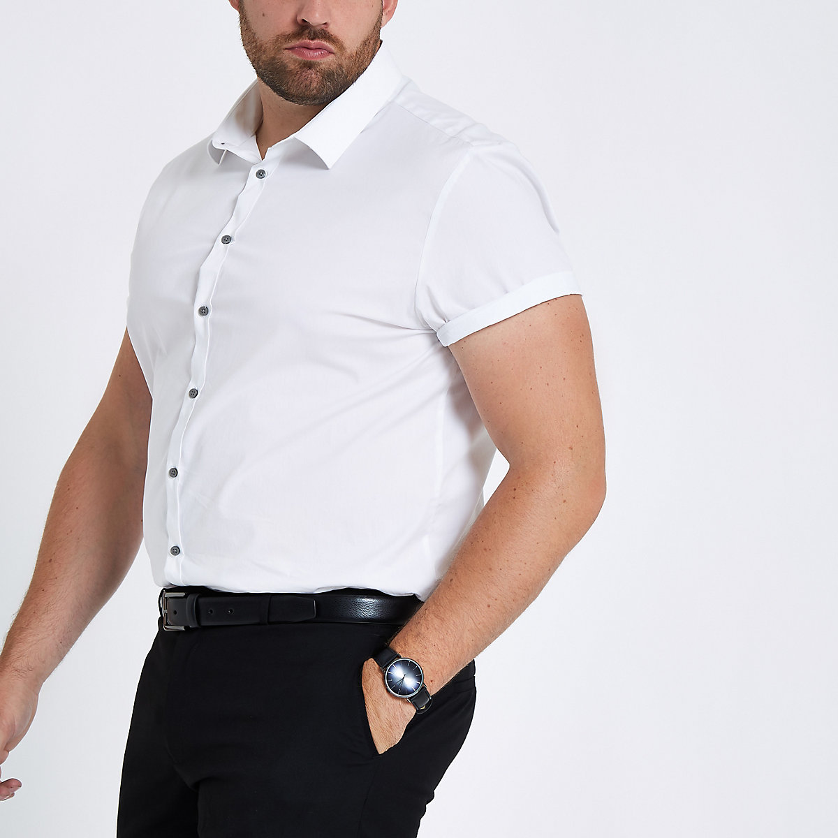 Big and Tall – Chemise slim en popeline blanche