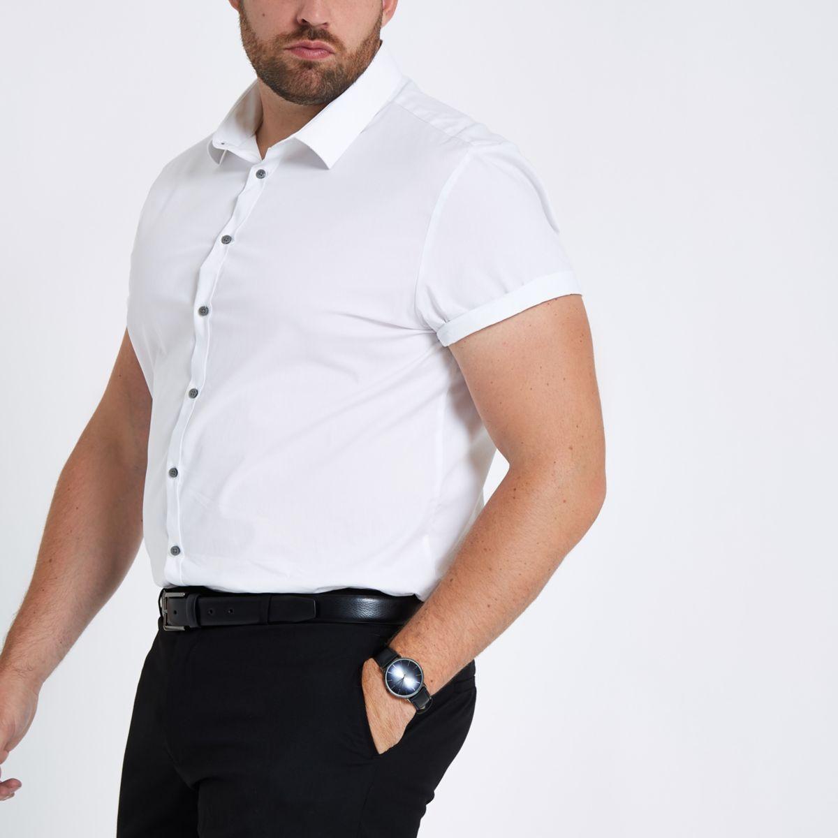 Big & Tall white poplin slim fit shirt