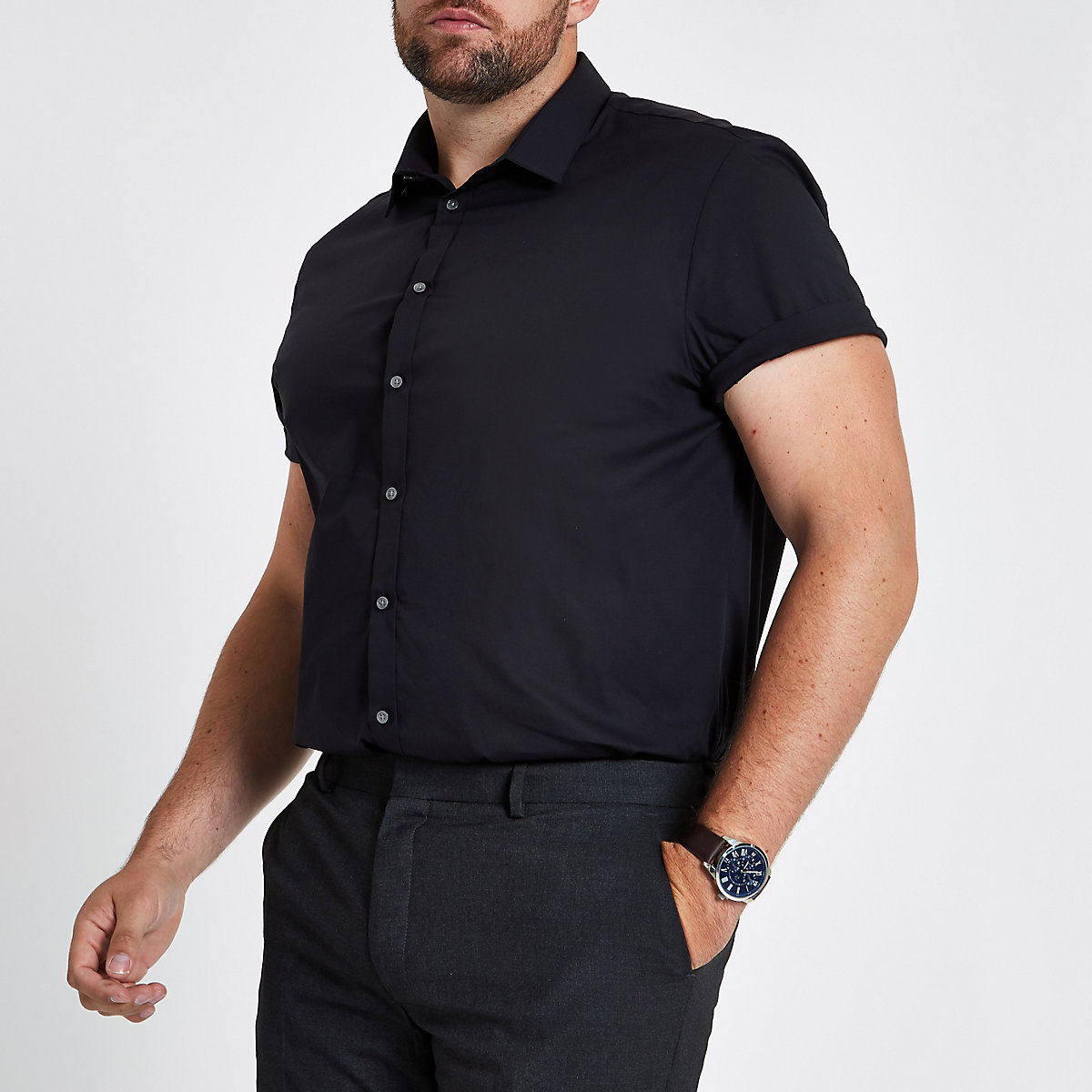Big and Tall – Chemise slim en popeline noire