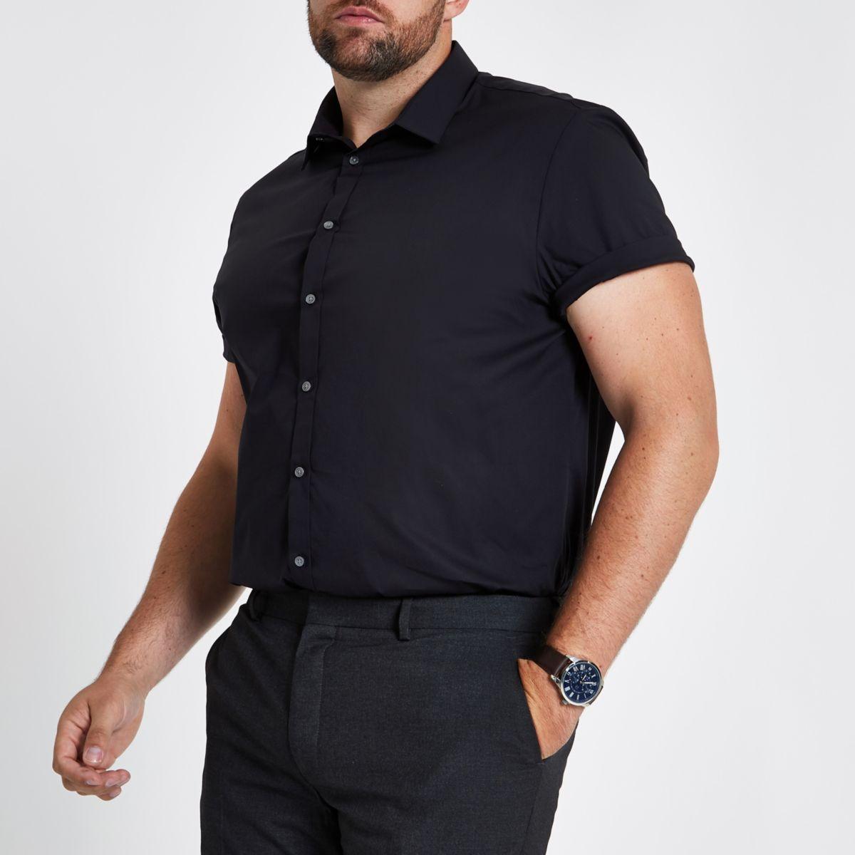 Big & Tall black poplin slim fit shirt