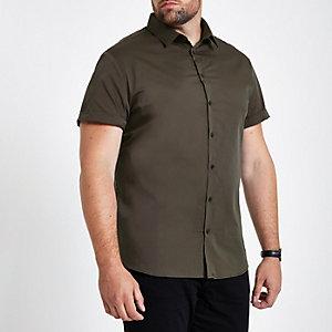 Big & Tall – Grünes Popeline-Hemd in Slim Fit