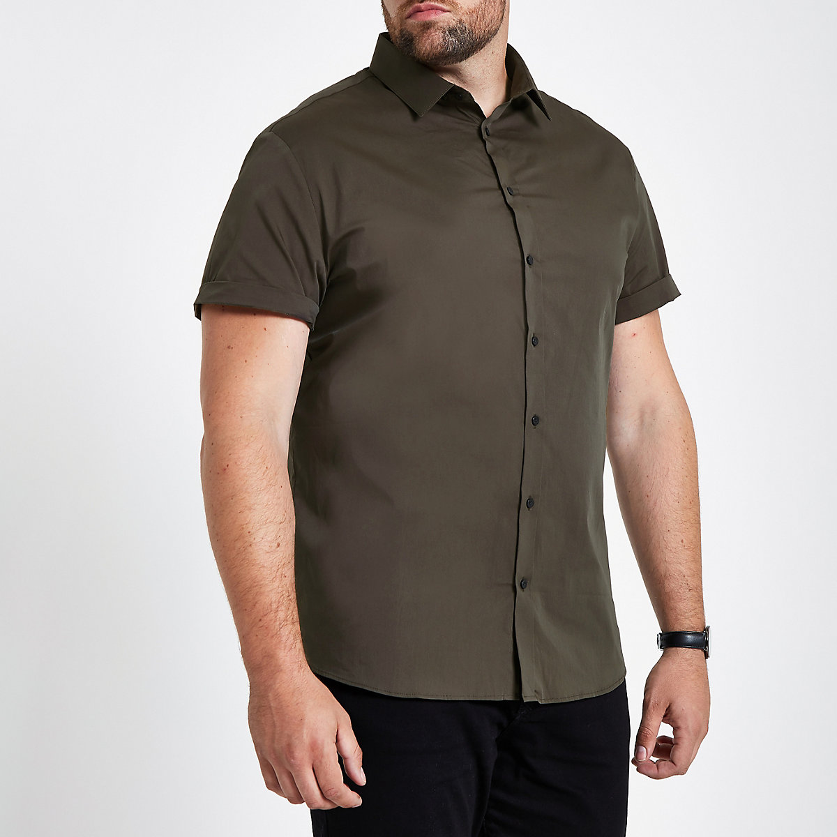 Big & Tall green poplin slim fit shirt