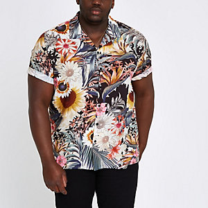 Pink Big and Tall sunflower revere shirt