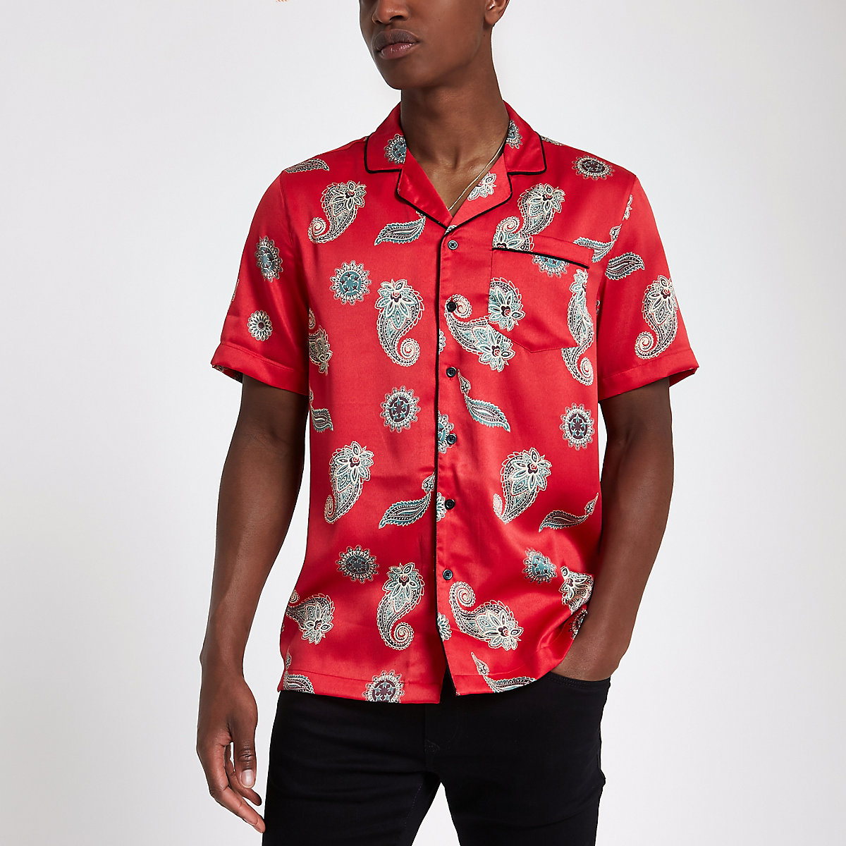 Red satin paisley print revere shirt
