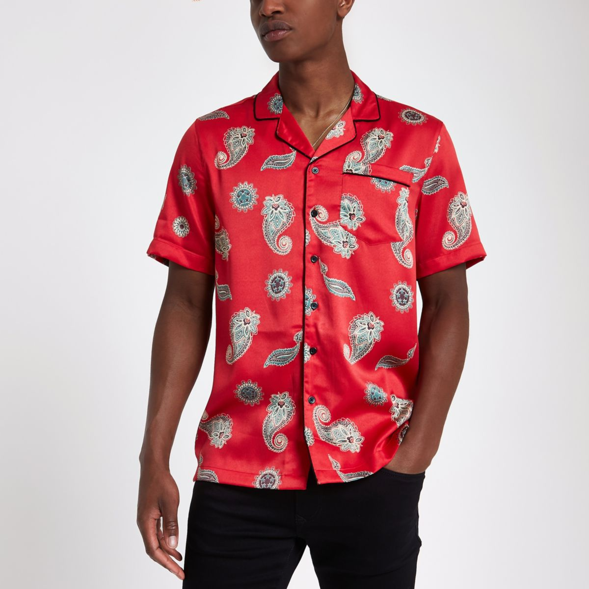 Red satin paisley print revere shirt