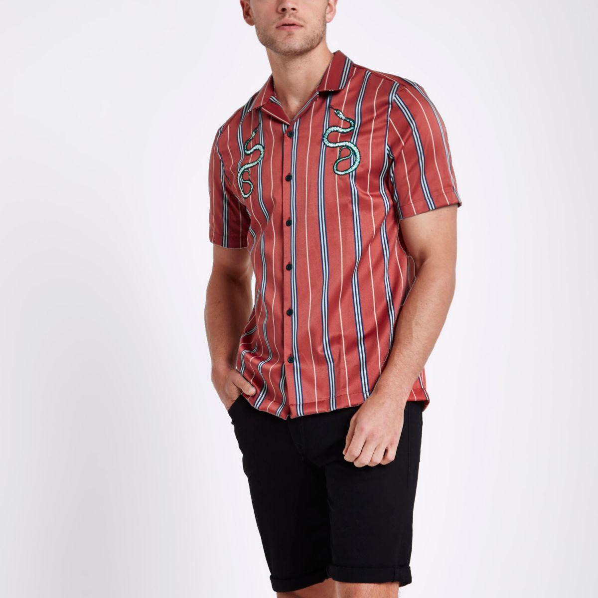 Red satin snake stripe revere shirt