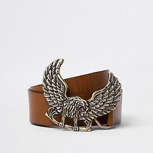Brown tan leather eagle buckle belt
