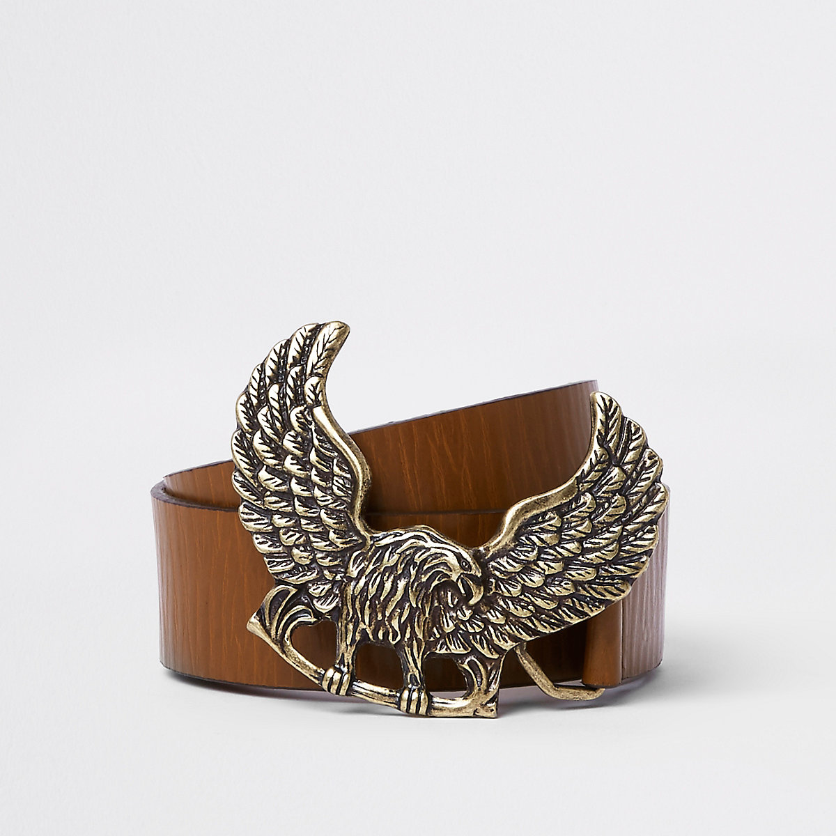 Brown tan leather eagle buckle belt