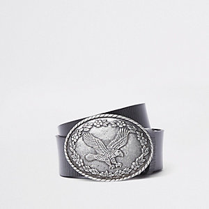 Black leather eagle circle buckle belt