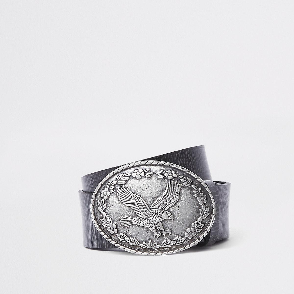 Black leather eagle circle buckle belt