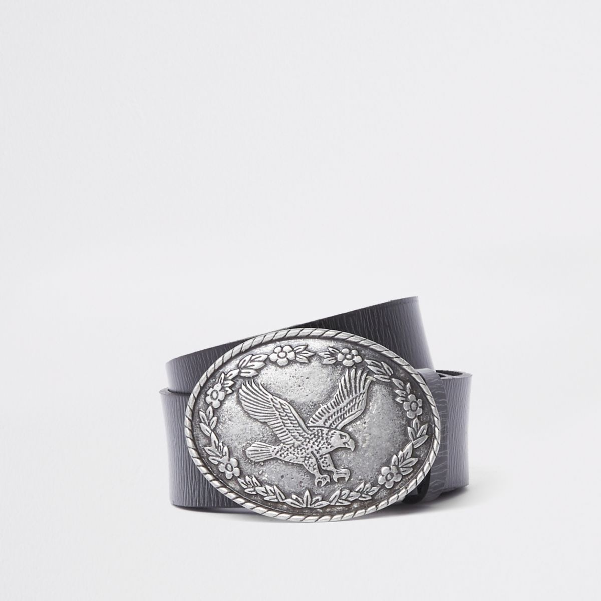Brown leather eagle circle buckle belt