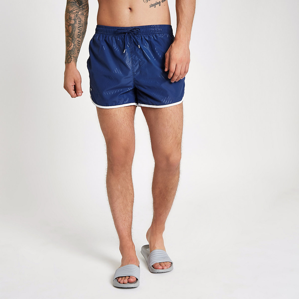 Football Bolt navy runner swim trunks