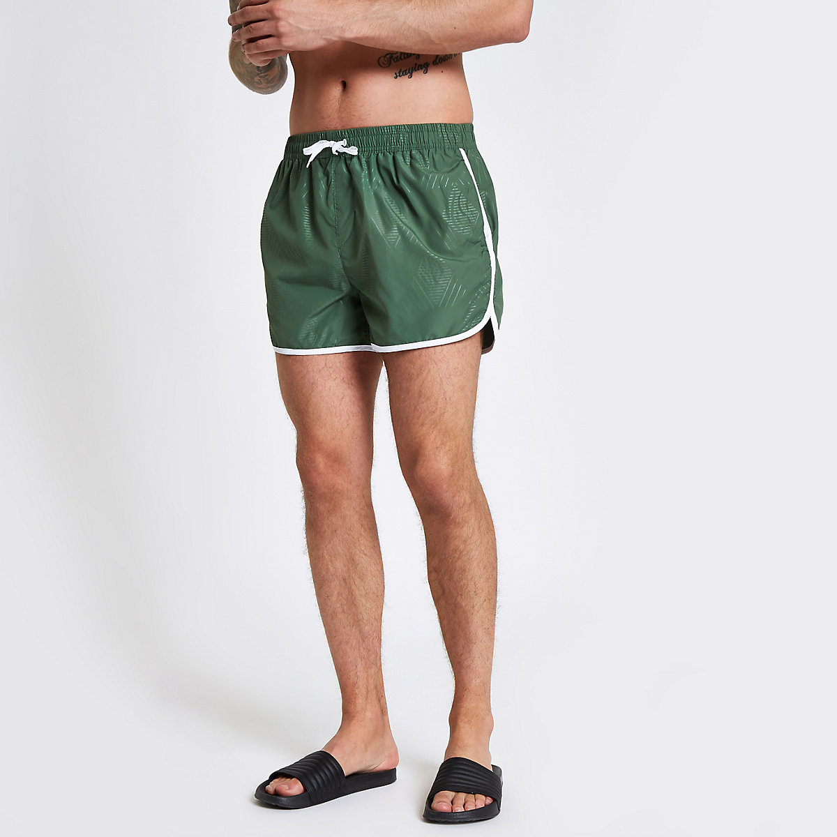 Football Bolt green runner swim shorts