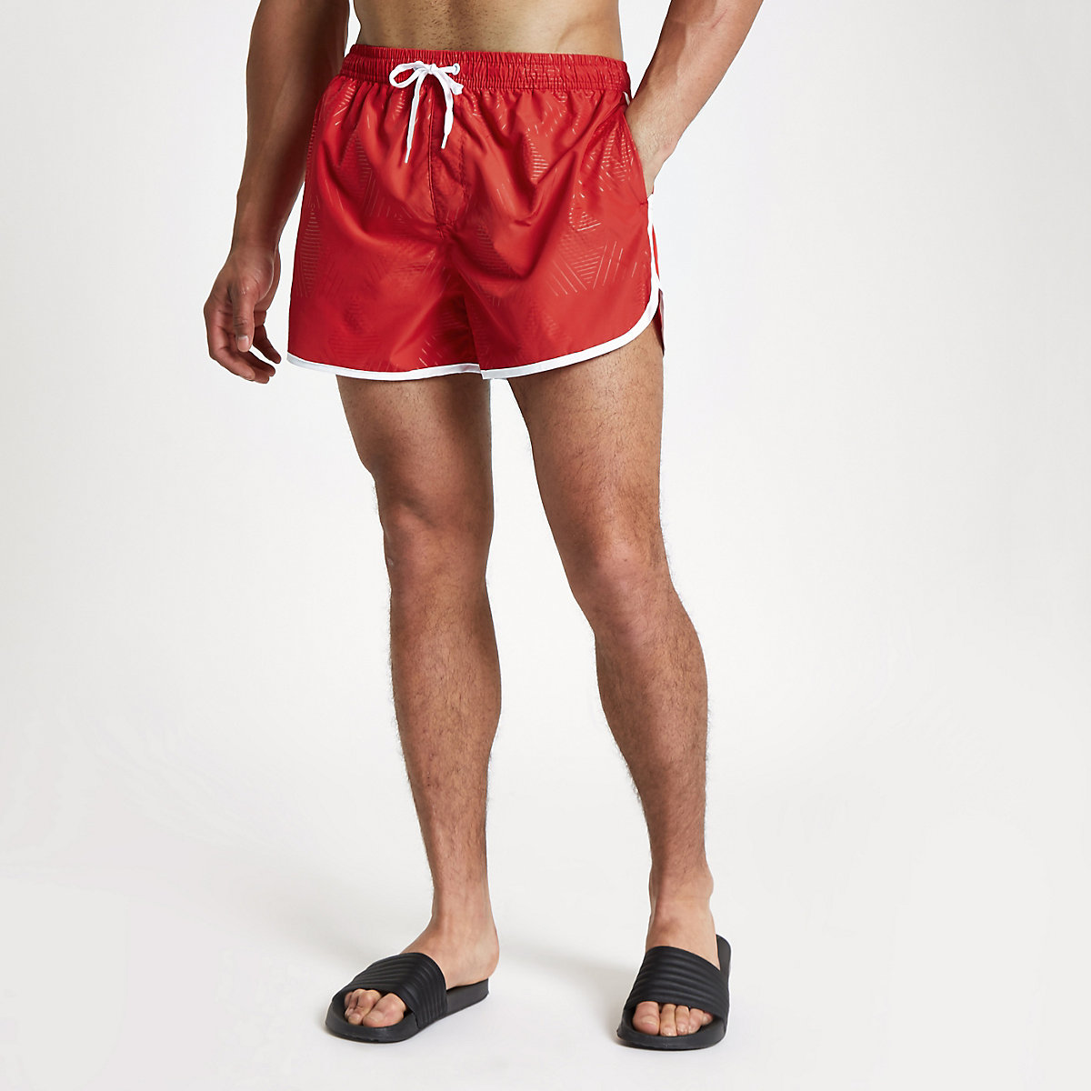 Football Bolt red runner swim shorts