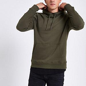 Kaki hoodie met lange mouwen