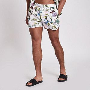 White floral swim shorts