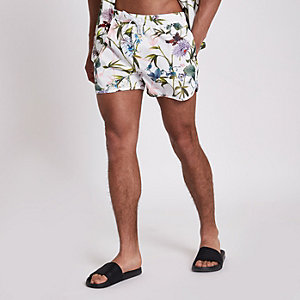White floral swim trunks
