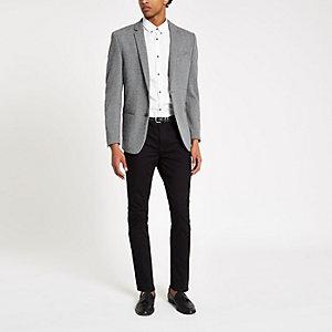 Grauer Skinny Fit Jersey-Blazer