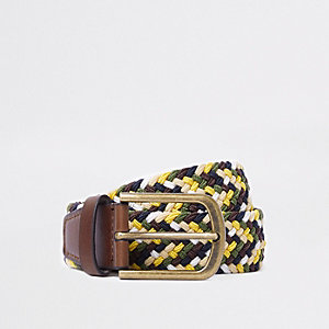 Yellow woven buckle belt