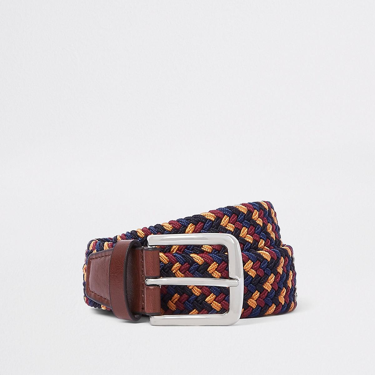 Navy woven buckle belt
